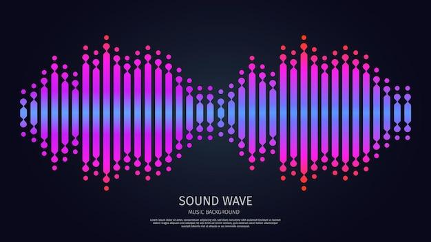 Ecualizador de ondas de sonido música tecnología de forma de onda digital electrónica luz morada pulso energético