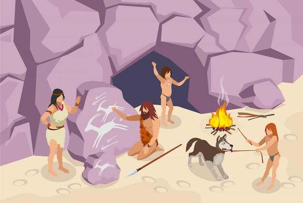 Edad de piedra isométrica con personas antiguas