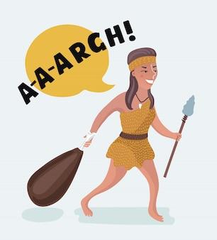 Edad de piedra mujer primitiva dibujo hombre barbudo y saludando con palo de madera. poder de la mujer! ilustración de estilo plano aislado sobre fondo blanco.