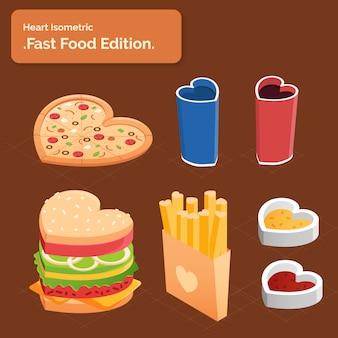 Edición isométrica de comida rápida del corazón