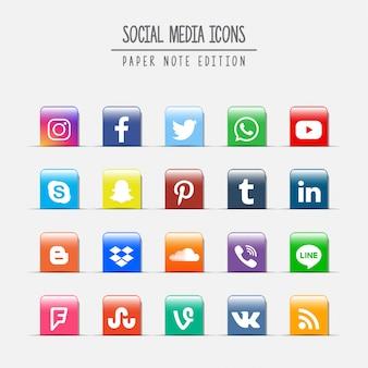 Edición de notas de papel de medios sociales