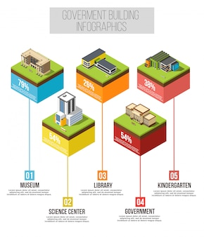 Edificio administrativo infografía isométrica