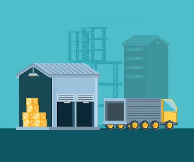 Edificio de almacén con servicio de entrega de camiones.