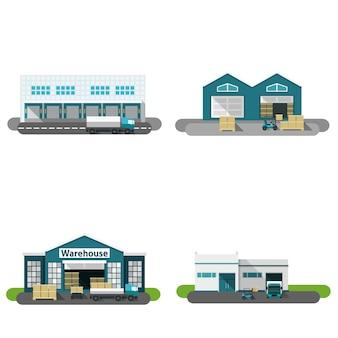 Edificio de almacenes planos
