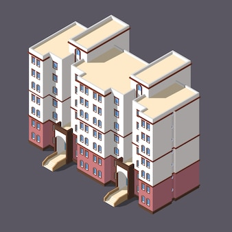 Edificio de apartamentos de ciudad baja poli