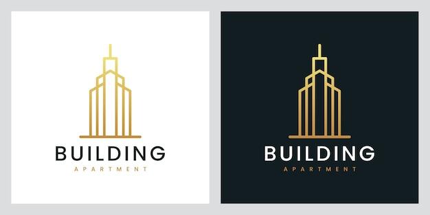 Edificio de apartamentos con estilo de arte lineal, inspiración para el diseño de logotipos