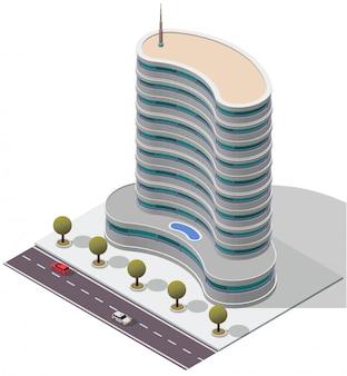 Edificio de apartamentos isométrico del hotel