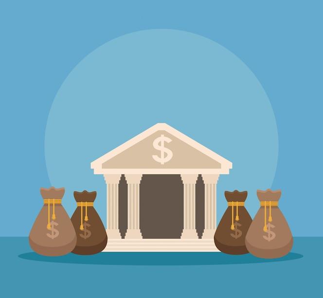 Edificio bancario con bolsas de dinero