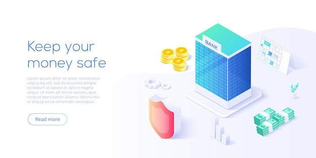 Edificio bancario en concepto de transacción de dinero en diseño isométrico