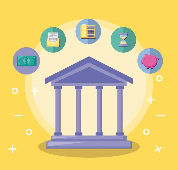 Edificio bancario con economía y finanzas.