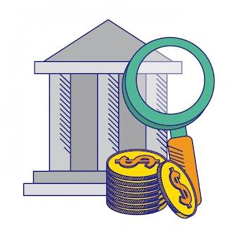 Edificio bancario con lupa y monedas de líneas azules.
