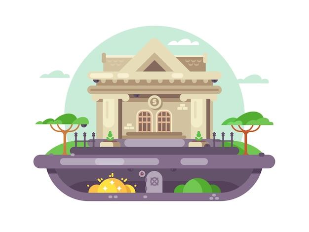 Edificio de banco arquitectónico. institución financiera con columnas con estilo. ilustración