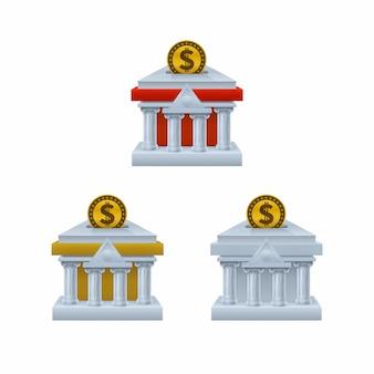 Edificio del banco en forma de iconos de hucha con monedas de dólar