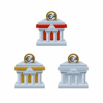 Edificio del banco en forma de iconos de hucha con monedas de euro