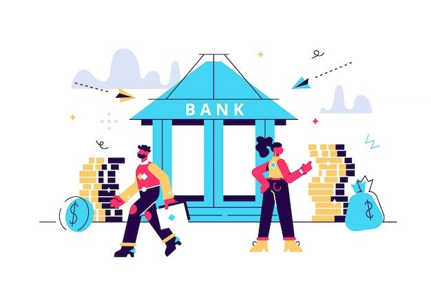 El edificio del banco con hucha y pequeños banqueros se dedican al trabajo, financiamiento bancario