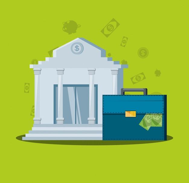 Edificio de banco con maleta de cartera