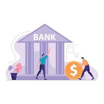 Edificio del banco con personas alrededor de la ilustración