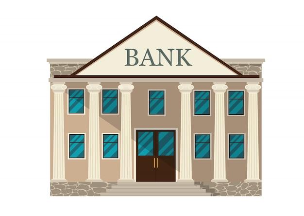Edificio de banco retro de dibujos animados o palacio de justicia con columnas ilustración aislado en blanco
