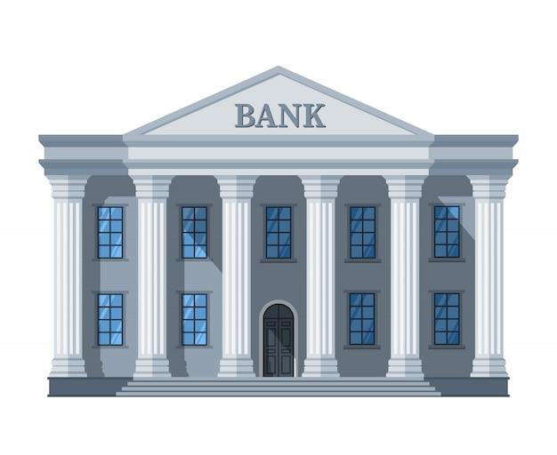 Edificio de banco retro de dibujos animados o palacio de justicia con ilustración de columnas aislado en blanco