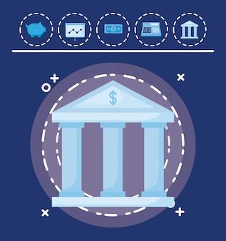 Edificio del banco con set iconos economía finanzas