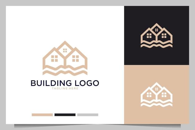 Edificio de bienes raíces elegante diseño de logotipo.