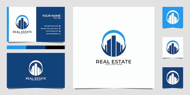 Edificio de bienes raíces logotipo de la ciudad y tarjeta de visita