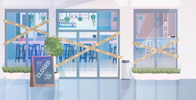 Edificio de café cerrado con cinta amarilla coronavirus pandemia cuarentena concepto covid-19