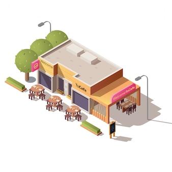 Edificio de la cafetería de la calle con vector de terraza al aire libre