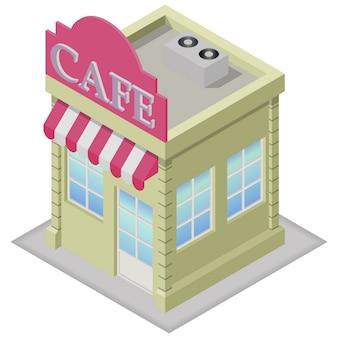 Edificio de cafetería isométrica