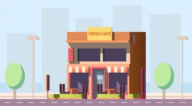 Edificio de la calle de la ciudad de cafe