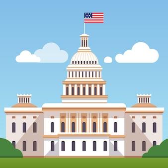 Edificio de la casa blanca con la bandera de ee.uu. en un cielo azul