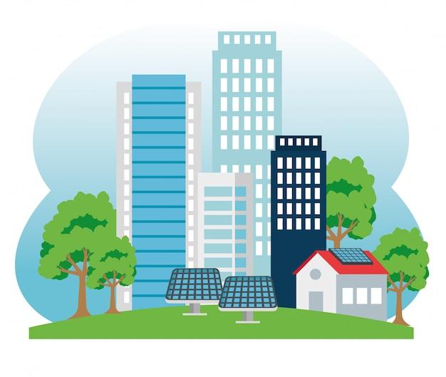 Edificio y casa con energía solar y tres