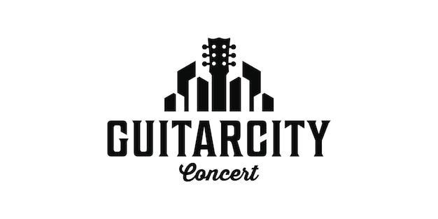 Edificio de la ciudad de la guitarra inspiración de diseño de logotipo retro vintage
