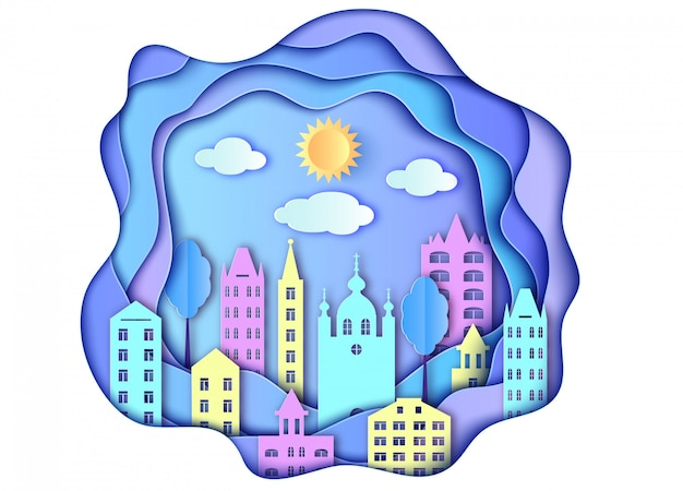 Edificio de ciudad sol y nubes en estilo arte papel.