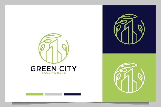 Edificio de ciudad verde con diseño de logotipo de hoja verde