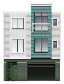 Un edificio comercial de varios pisos.