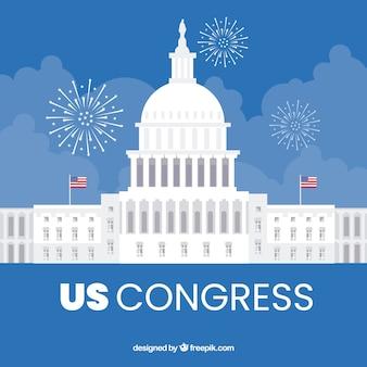 Edificio del congreso de estados unidos con diseño plano