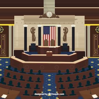 Edificio del congreso de estados unidos en estilo plano