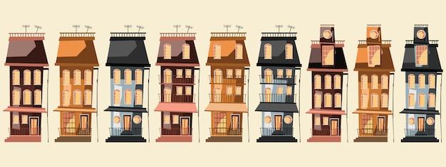 Edificio conjunto ilustración vectorial
