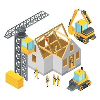 Edificio en construcción. conjunto de imágenes isométricas.