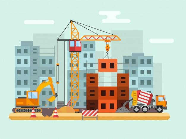 Edificio en construcción, trabajadores y construcción técnica vector ilustración
