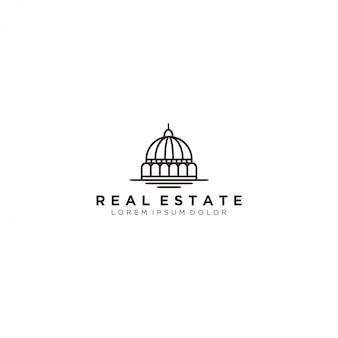 Edificio de cúpula, logotipo inmobiliario