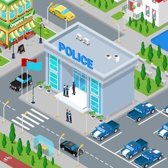 Edificio del departamento de policía isométrica con policía y coche de policía.