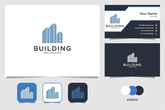 Edificio de diseño de logotipo de bienes raíces y tarjeta de presentación.