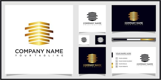 Edificio de diseño de logotipo de bienes raíces y tarjeta de visita vector premium