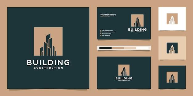 Edificio de diseño de logotipo con concepto moderno. diseño de logo y tarjeta de presentación