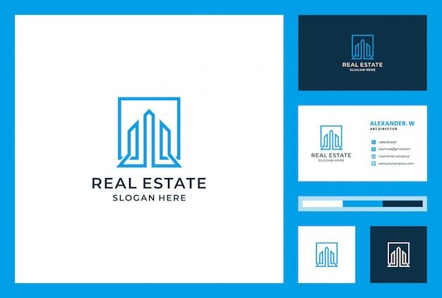 Edificio de diseño de logotipo con tarjeta de visita. se puede utilizar para bienes raíces, aterrizaje, propiedad, inversión, apartamento, construcción.
