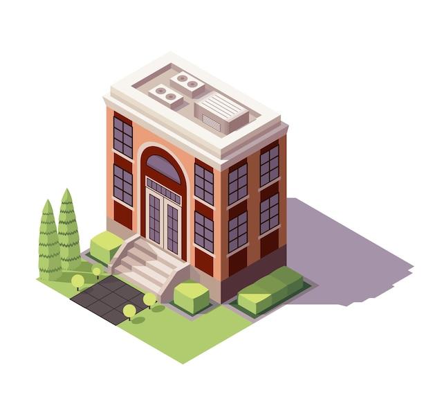 Edificio educativo isométrico. arquitectura del icono educativo histórico de la ciudad moderna.
