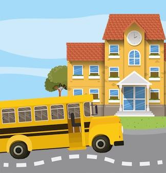 Edificio escolar y autobús en la escena del camino.