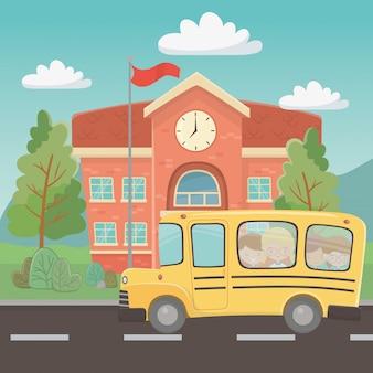 Edificio escolar y autobus.